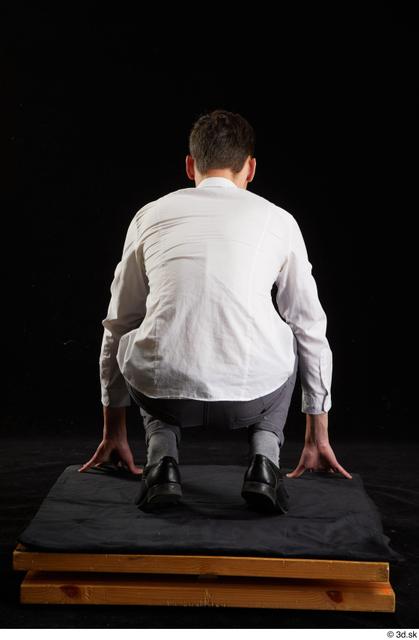 Whole Body Man White Shoes Shirt Trousers Slim Kneeling Studio photo references