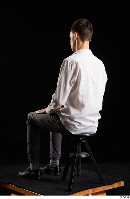 Whole Body Man White Shoes Shirt Trousers Slim Sitting Studio photo references