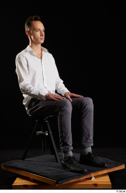 Whole Body Man White Shoes Shirt Trousers Slim Sitting Studio photo references