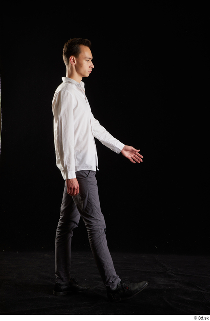 Whole Body Man White Shoes Shirt Trousers Slim Walking Studio photo references