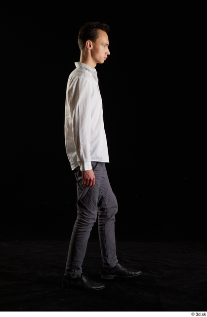 Whole Body Man White Shoes Shirt Trousers Slim Walking Studio photo references