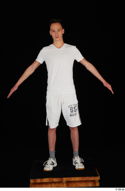 Whole Body Man White Sports Shirt Shorts Slim Standing Studio photo references