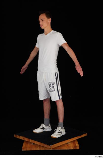 Whole Body Man White Sports Shirt Shorts Slim Standing Studio photo references