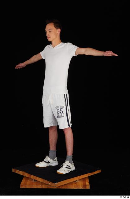 Whole Body Man T poses White Sports Shirt Shorts Slim Standing Studio photo references