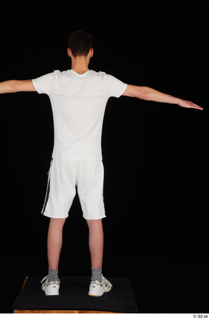 Whole Body Man T poses White Sports Shirt Shorts Slim Standing Studio photo references