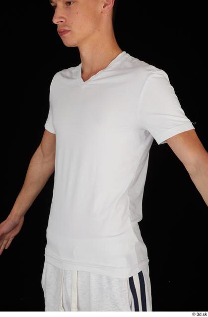 Upper Body Man White Sports Shirt Slim Studio photo references