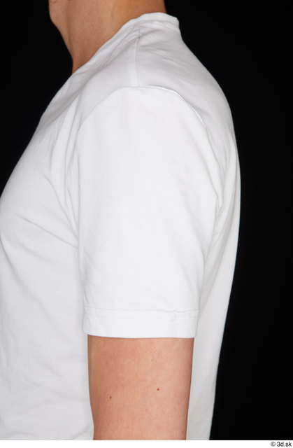 Arm Upper Body Man White Sports Shirt Slim Studio photo references
