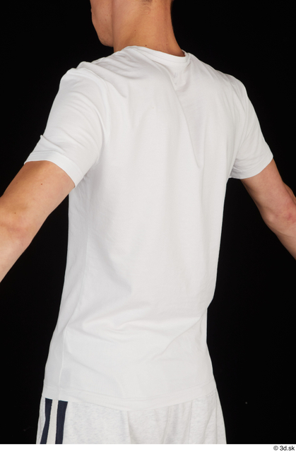 Upper Body Man White Sports Shirt Slim Studio photo references