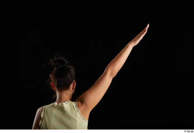 Arm Back Woman White Casual Average Top Studio photo references