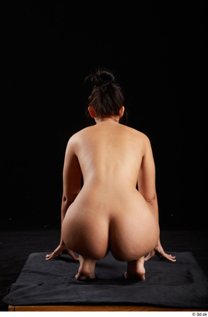 Whole Body Woman White Nude Average Kneeling Studio photo references