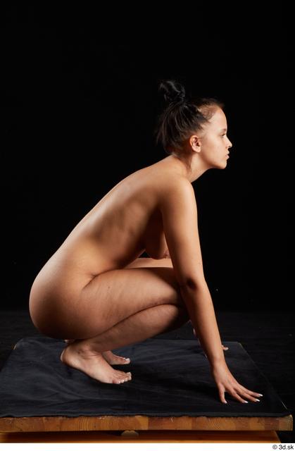 Whole Body Woman White Nude Average Kneeling Studio photo references