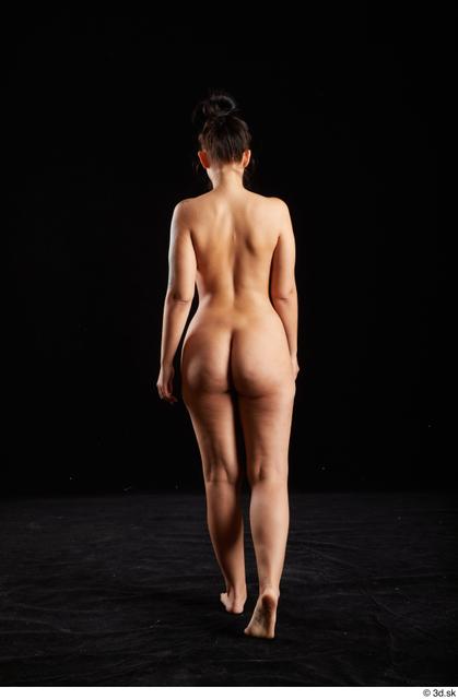 Whole Body Back Woman White Nude Average Walking Studio photo references