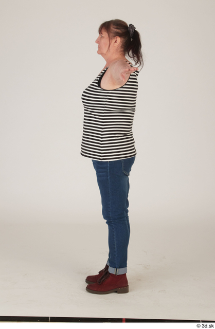 Whole Body Woman T poses White Casual Chubby Standing Street photo references