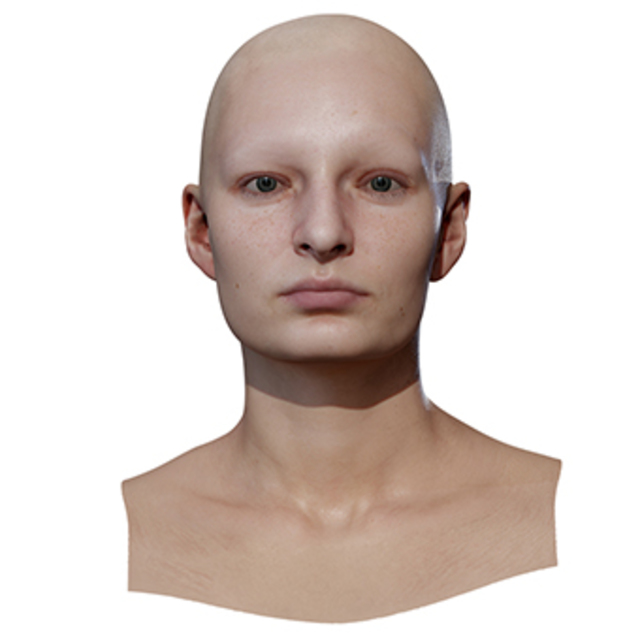 Retopologized 3D Head scan of Anicka
