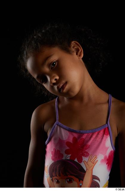 Head Woman Black Slim Studio photo references
