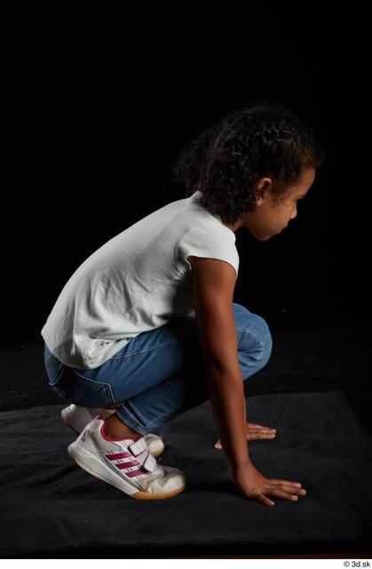Whole Body Woman Black Casual Shirt Jeans Slim Kneeling Studio photo references