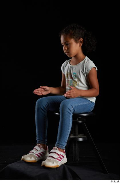 Whole Body Woman Black Casual Shirt Jeans Slim Sitting Studio photo references
