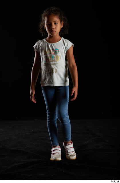 Whole Body Woman Black Casual Shirt Jeans Slim Walking Studio photo references