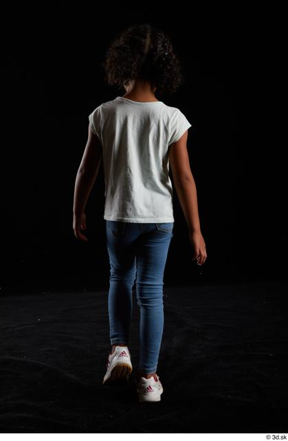 Whole Body Back Woman Black Casual Shirt Jeans Slim Walking Studio photo references