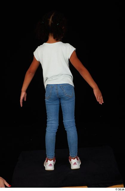 Whole Body Woman Black Casual Shirt Jeans Slim Standing Studio photo references