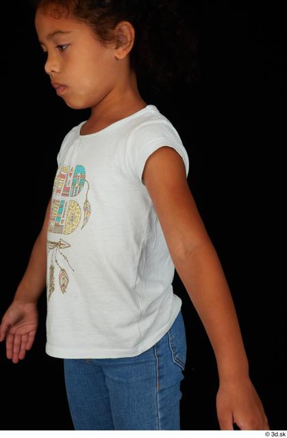 Upper Body Woman Black Casual Shirt Slim Studio photo references