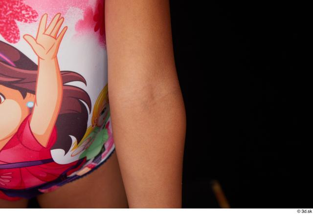 Woman Black Nude Slim Studio photo references