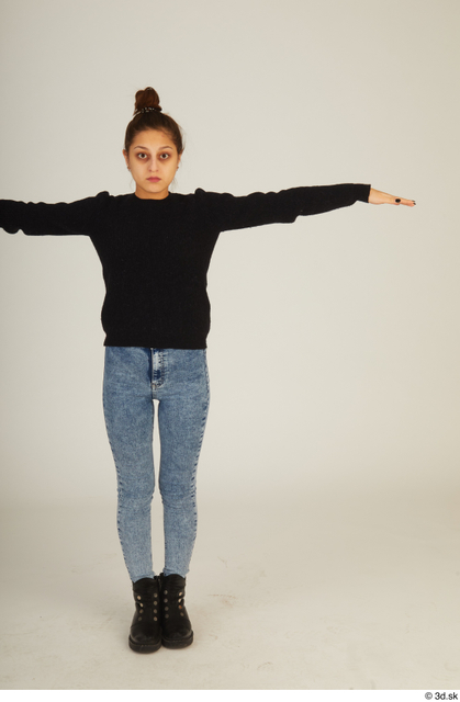 Whole Body Woman T poses White Casual Standing Street photo references