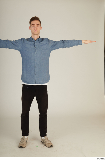 Whole Body Man T poses White Casual Slim Standing Street photo references