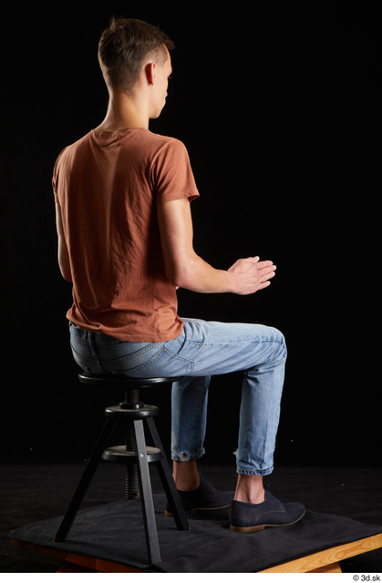 Whole Body Man White Casual Shoes Shirt Jeans Slim Sitting Street photo references
