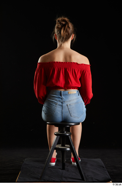 Whole Body Woman White Casual Jeans Shorts Slim Sitting Top Studio photo references