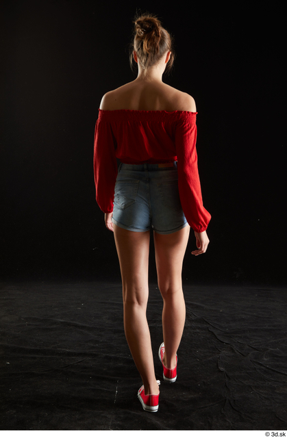 Whole Body Woman White Casual Jeans Shorts Slim Walking Top Studio photo references