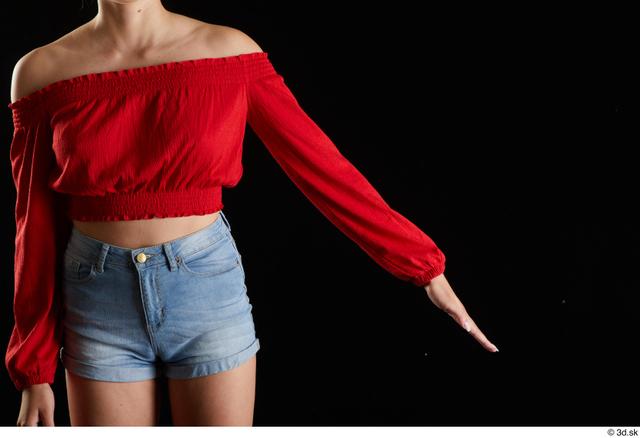 Arm Woman White Casual Slim Top Studio photo references