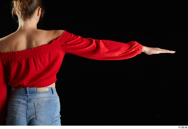 Arm Back Woman White Casual Slim Top Studio photo references