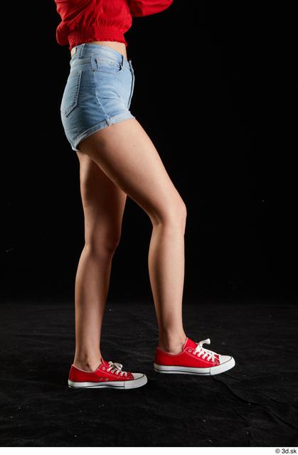 Leg Woman White Casual Jeans Shorts Slim Studio photo references