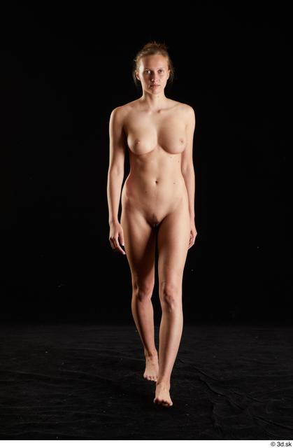 Whole Body Woman White Nude Slim Walking Studio photo references