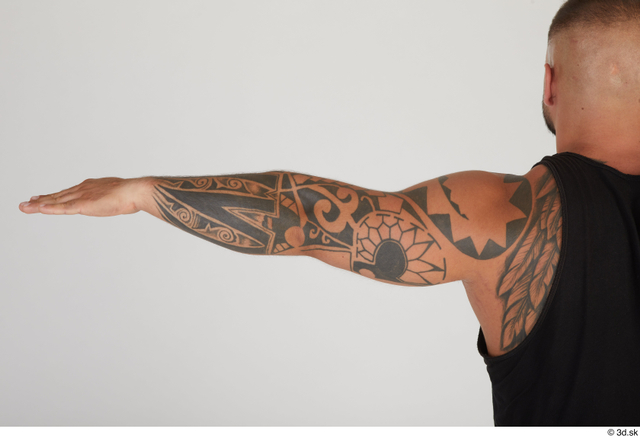 Arm Man White Tattoo Muscular Street photo references