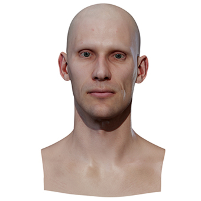 Retopologized 3D Head scan of JiriV