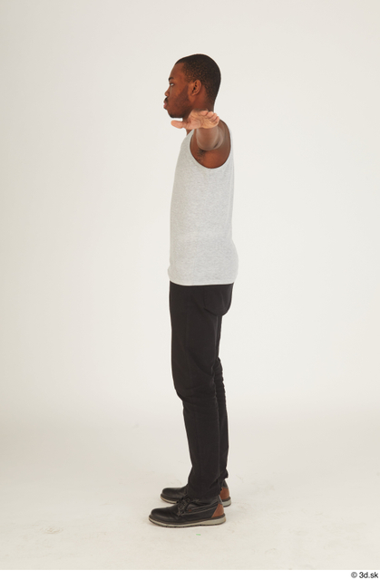 Whole Body Man T poses Black Casual Slim Standing Street photo references