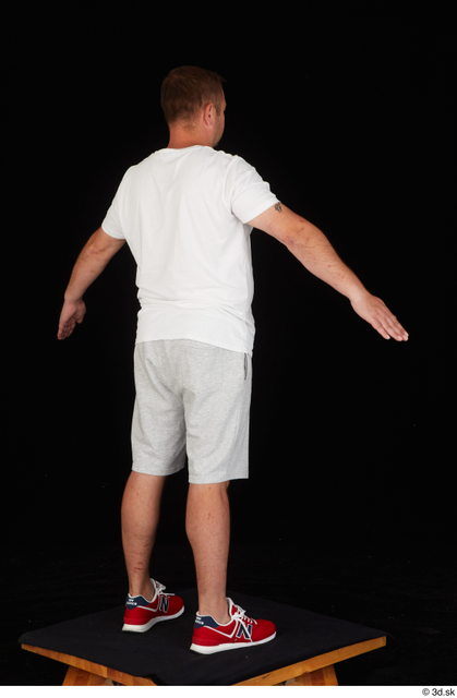Whole Body Man White Sports Shirt Shorts Chubby Standing Studio photo references