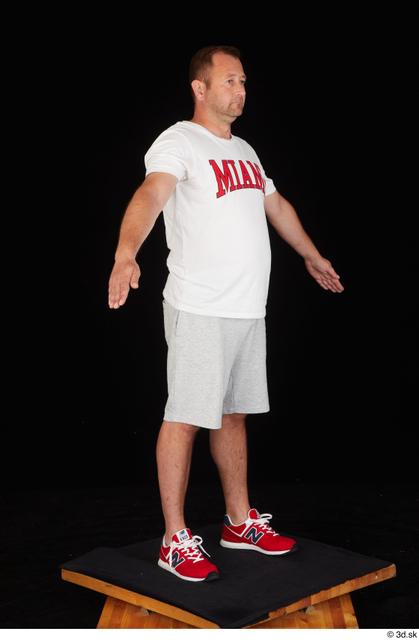 Whole Body Man White Sports Shirt Shorts Chubby Standing Studio photo references