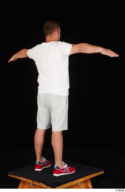 Whole Body Man T poses White Sports Shirt Shorts Chubby Standing Studio photo references