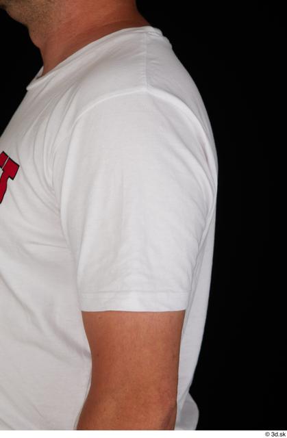 Arm Upper Body Man White Sports Shirt Chubby Studio photo references