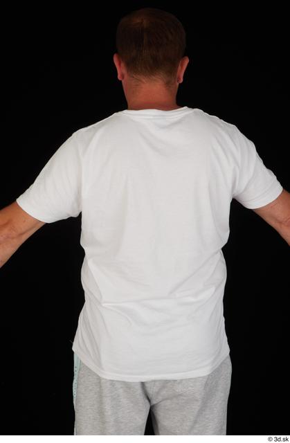 Upper Body Man White Sports Shirt Chubby Studio photo references