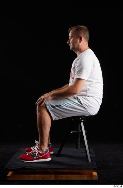 Whole Body Man White Sports Shirt Shorts Chubby Sitting Studio photo references