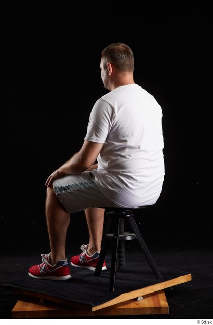 Whole Body Man White Sports Shirt Shorts Chubby Sitting Studio photo references