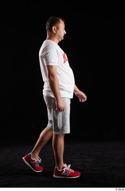 Whole Body Man White Sports Shirt Shorts Chubby Walking Studio photo references