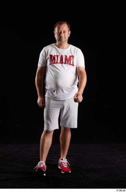 Whole Body Man White Sports Shirt Shorts Chubby Studio photo references