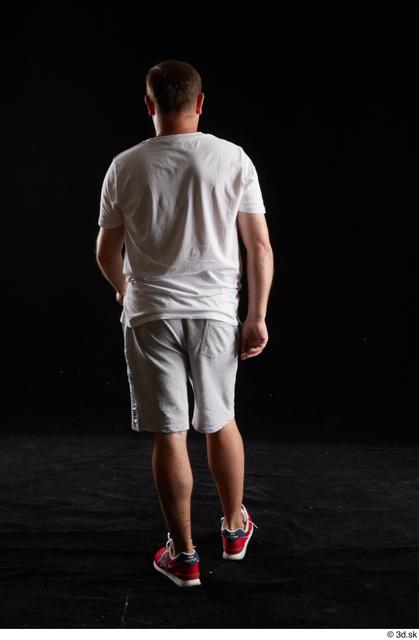 Whole Body Back Man White Sports Shirt Shorts Chubby Studio photo references
