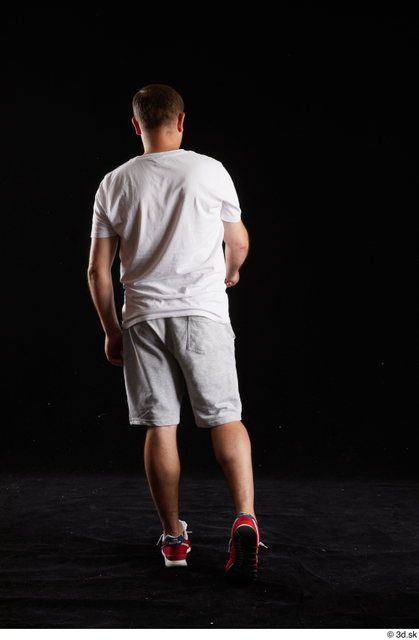 Whole Body Back Man White Sports Shirt Shorts Chubby Studio photo references