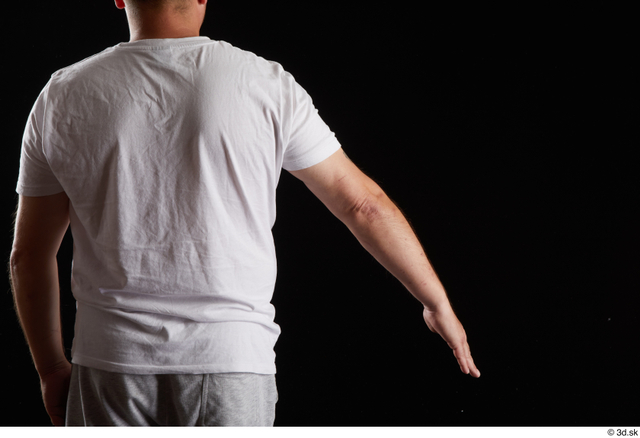 Arm Back Man White Sports Shirt Chubby Studio photo references